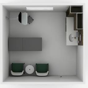 Rendering of an exam room with 2 green Relay chairs, wooden Convey Modular Casework with sink