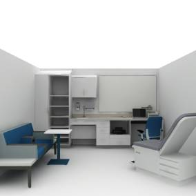 Rendering of an exam room with a blue Amia chair, long Regard sofa with personal tale, white Convey casework with sink and wooden desk