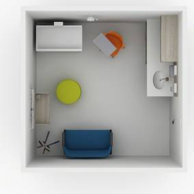 Rendering of an exam room with a green Alight ottoman seat, orange Node chair with table, Splash coat hanger, Verb whiteboard on wall.