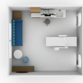 Rendering of an exam room with wooden paper table, blue Campfire pouf seat, blue Regard sofa
