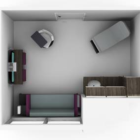 Rendering of an exam room with white Shortcut chair, white Convey casework with sink, media:scape screen on a wall, Surround sofa with table