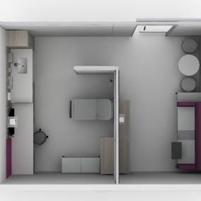 Rendering of exam room with a purple Regard sofa, wooden Convey casework with sink, Verge small seat