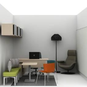 Bousta Rug, Massaud Chair, Wrapp Chair, Elective Elements, Flow Whiteboard, Bassline Bench, Amia Chair, Tatou F Lamp