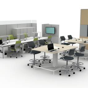 Media:scape table, Qivi chair, Gesture chair, FrameOne chair, Mobile Caddy, LED personal task light, Answer panel, V.I.A, Universal Storage Planning Ideas