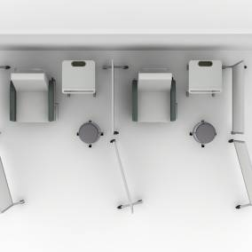 Rendering of hospital room with two Empath recliner seats, 4 groupwork mobile whiteboards, two Verge stools and two Pocket mobile cart