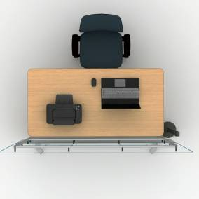 Rendering of personal work space with Amia chair, Groupwork desk, private screen and Thread power