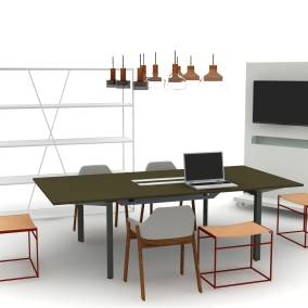 Collet Rug, Coalesse Mediaboard, NeedWant Shelving, FrameOne Counter, Trace Pendant Light, Common Leather Sling Stool, Clutch Dining Chair Planning Idea