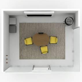V.I.A, Media:scape Table, Coalesse Montara650 Stool, Blu Dot Pim Pim Rug, Blu Dot Wood Wall Hook, B-Free Small Cube, Blu Dot Laika Pendant Light Planning Idea