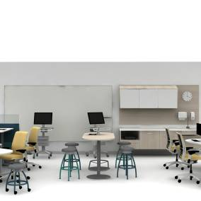 Montage Panel Systems, Amia Chair, Exchange, Verge, Sync Desk, Pocket Table Planning Idea