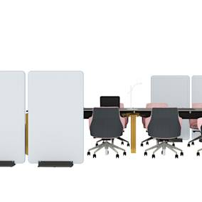 Steelcase FrameOne Plus Bench, Steelcase Divisio Acoustic Freestanding Screen, Coalesse Davos Bench, Bolia Bureau Table Lamp, Coalesse Massaud Conference Chair, Steelcase 1+1 Organisation Tools