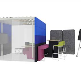 Steelcase Flex Freestanding Screens, Coalesse Montara650 Stool, Orangebox Air25 POD, Orangebox Away from the Desk, Orangebox Border, Bolia Vitro Table, Roam Cart