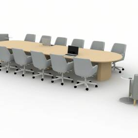 Rendering of a conference room with a large wooden table and office chairs