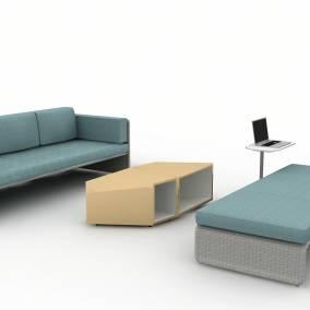 Rendering of a setting with lagunitas table lagunitas lounge seating sebastopol table