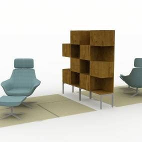 Rendering of a space with nanimarquina patch rug denizen storage tower and wardrobe bob seating