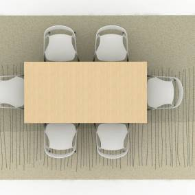 Rendering of a space with nanimarquina strokes rug coffee table ch008 lessthanfive chair