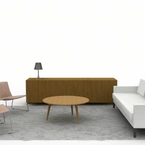 Rendering of a common space with Millbrae Sofa, Await table, Denize Credenza storage