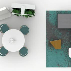 Rendering of a common space with a grey Sistema Lounge, blue rug underneath, white personal table and a lamp next to it. Round white table with four Lox Chairs