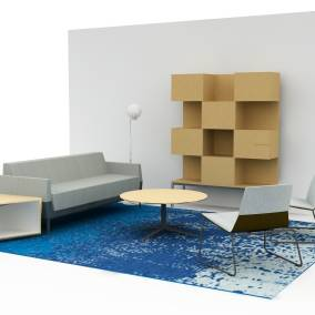 Visalia Lounge System, Holy Day Table, Sebastopol Table, Denizen Credenza, FLOS IC Lights F1