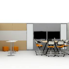 Rendering of a common space with b-free seats, big wooden table with laptops on it