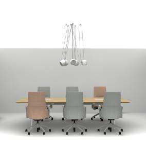 Exponents Credenza, Potrero415 Table, Exponents Bench, Massaud Seating, FLOS AIM Pendant Light