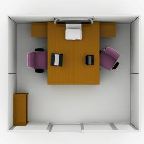 Rendering of a private office with two Think chairs, Currency storage and desk, media:scape mini