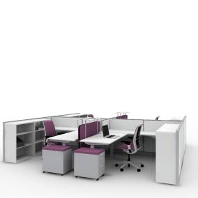 Rendering of a collaborative area with four Migration SE desks, four Think chairs, SOTO tools, SARTO screens to divide the space