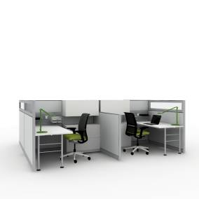 work area rendering with four work stations with wooden desks, dash lights, Think chairs and kick panels