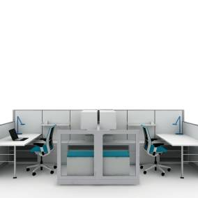 rendering of a work area with wooden desk, Think chairs, dash light on wooden desks