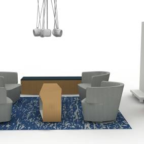 Exponents Credenza, Exponents Whiteboard and Mobile Display, Exponents Cart and Moby, Joel Lounge Chair, Sebastopol Table, Free Stand Planning Idea