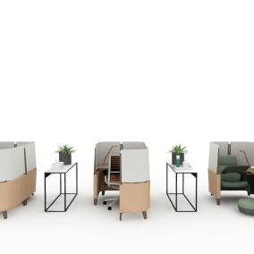 Rendering of a work space with 3 Brody worklounge with footrest, 3 minimalista tables with BluDot Planters and hygiene products
