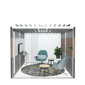 Rendering of an enclosed Air3 pod with Coalesse SW_1 chairs, Moooi Biophillia rug, Embold table and RoomWizard