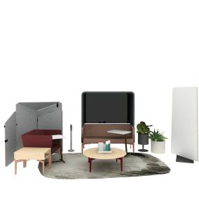 Steelcase Thread Hub, Steelcase SOTO Pile Box, Turnstone Bivi Rumble, Turnstone Bassline Tables, Turnstone Campfire Skate Table, Turnstone Pivot Screen, Turnstone Clipper Screen, Blu Dot Bub Table Lamp, Moooi Scribble Rug Planning Idea