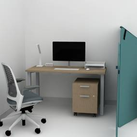 Steelcase Currency Martin Desk, Steelcase Currency Mobile Pedestal,Steelcase Active Lift Riser, Steelcase Series 1 Chair, Steelcase SOTO LED Light, Steelcase Powerstrip Plus, Turnstone Clipper Screen