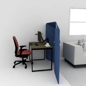 West Elm Work Greenpoint Private Desk, Steelcase Amiachair, FLOSLamp, AMQ Monitor arm, Turnstone Clipper Screen, PowerStripPlus