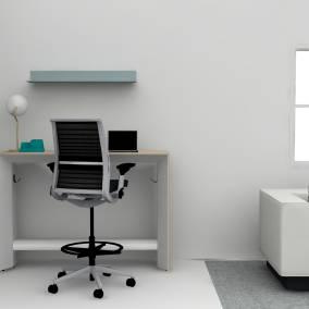 Turnstone Campfire Standing Slim Table, Steelcase Think Stool, FLOSIC Light, Stack Ceramics Desk Organizer, Blu Dot Welf Large Wall Shelf