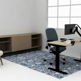 Rendering of a home office with Leap office chair, dash mini light, credenza storage in the back, Migration SE desk
