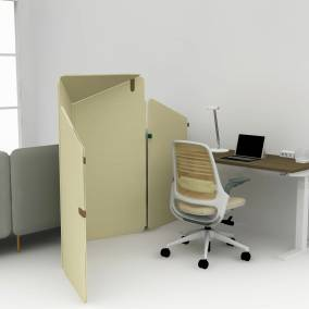 Rendering of a home office with migration SE desk, Series 1 office chair, dash mini light, turnstone clipper and soto tool box