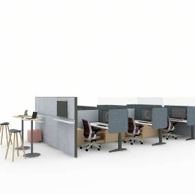 Rendering of a work space with wooden benches separated by Sarto screens, Steelcase Series 2 chairs, Universal laminate storage, slim shelf lights, stools