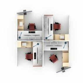 Rendering of a work space 4 migration desk, gesture office chairs, Answer panels