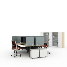 Steelcase Think Chair, Steelcase Ology Bench, Turnstone Slim Pedestal, Steelcase FYI Monitor Arm, Steelcase Answer Fence, Steelcase Elective Elements Storage, Steelcase Worktools, AMQ 3F Screens Planning Idea