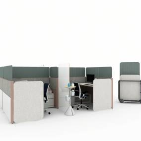 Rendering of a work space with 4 migration se benches, think chairs, answer panels, sarto screens