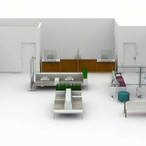 Rendering of a big health space with regard seats, separation screens, Shortcut chairs, alight ottoman seats, Amia and Embold