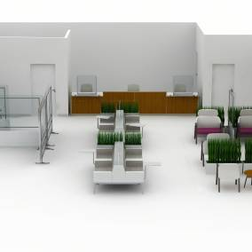 Rendering of a big health space with regard seats, separation screens, Shortcut chairs, alight ottoman seats, Amia and Embold, verge stools, pocket car