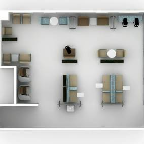 Rendering of a large health space with products such as: Separation screens, Brody, Aspekt,