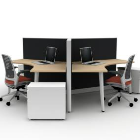 Series 1 Task Chair, Tapered Leg, Answer Panel, 120 degree Universal Worksurface, AMQ Metal Mobile Pedestal