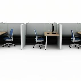 rendering of a work space with six personal benches separated with walls