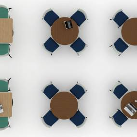 high view of a rendering of a workcafe with move chairs and rounded tables