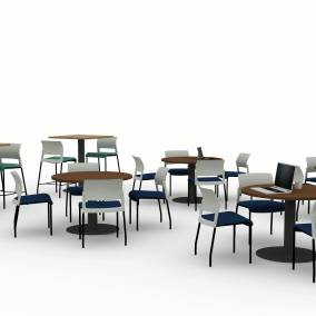 rendering of a workcafe with move chairs and rounded tables