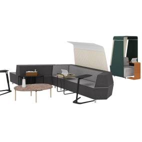 Michael Strads Shirley Armchair, Coalesse Free Stand, Do Lotus Side Table, Bolia Tuk Coffee Table, Bolia Posea Side Table, m.a.d. Sling Table, MediaScape Lounge, MediaScape Hoodie, Campfire Personal Table