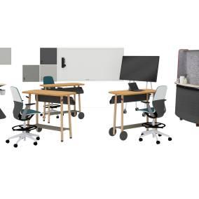 Steelcase Flex Collection, Steelcase SILQ Seating, Steelcase Roam Stand and Microsoft Surface Hub 2, Steelcase Flex Huddle, Polyvision Motif